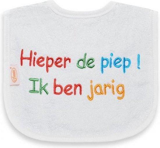 Funnies Slabber Ik Ben Jarig Junior 40 Cm Katoen Wit