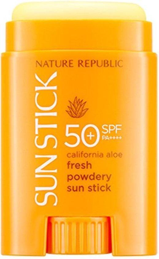 NATURE REPUBLIC SPF50+ PA++++ Stick - California Aloe Vera Fresh Powdery Sun Stick | Zonnebrand Stick voor Gezicht en Hals | Korean Beauty | Bestseller | SPF 50 | Sunblock + Pore Primer | Matte Skin Finish Pore Primer | Sunscreen Gezichtsbescherming