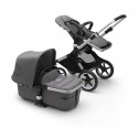 Fox 2 kinderwagen/stoel/reiswieg, aluminium frame/gemȇleerd grijze stof/gemȇleerd grijze zonnekap