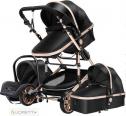 Lioretti® Luxe Baby Buggy 3 in 1 | Baby Wagen | Kinderwagen met stoel en wieg | Hoge Kwaliteit | Zwart